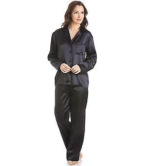Conjunto de pijama cetim comprimento total Black Camille