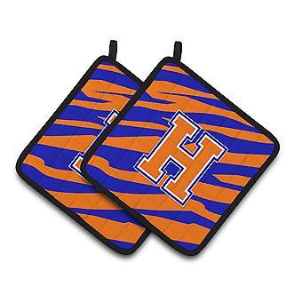 Monogram Initial H Tiger Stripe - Blue Orange Pair of Pot Holders