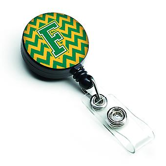 Letter F Chevron Green and Gold Retractable Badge Reel