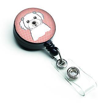 Carolines tesoros BB1208BR damero rosa insignia Retractable Maltés carrete