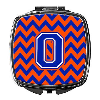 Carolines Treasures  CJ1044-OSCM Letter O Chevron Orange and Blue Compact Mirror