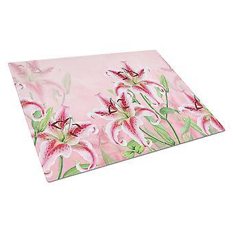 Каролинских сокровища BB7446LCB розовые лилии Стеклянная Разделочная доска большой