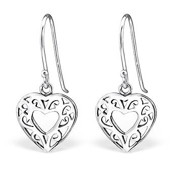 Heart - 925 Sterling Silver Plain Earrings