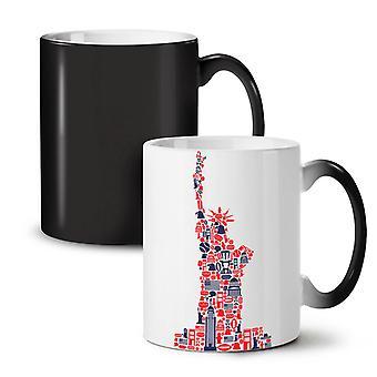 New York Statue Liberty NEW Black Colour Changing Tea Coffee Ceramic Mug 11 oz | Wellcoda
