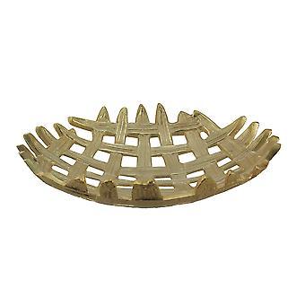 Metallic Finish 16 Inch Diameter Aluminum Lattice Weave Decorative Tray