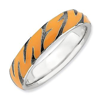 Sterling Silver Rhodium-plated Stackable Expressions Polished Enameled Animal Print Ring - Ring Size: 5 to 10