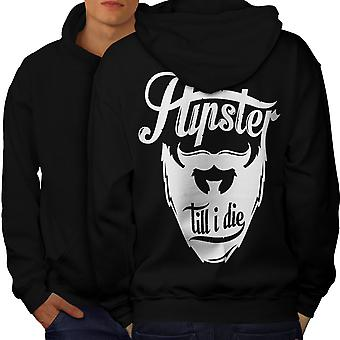 Hippie Beard Vintage Men BlackHoodie Back | Wellcoda