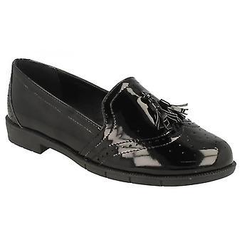 Ladies Womens Flat Low Heel School Office Work Tassel Loafers Formal Shoes