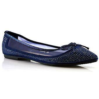 Ladies Womens New Slip On Net Studded Bow Ballerina Flats Pumps Shoes