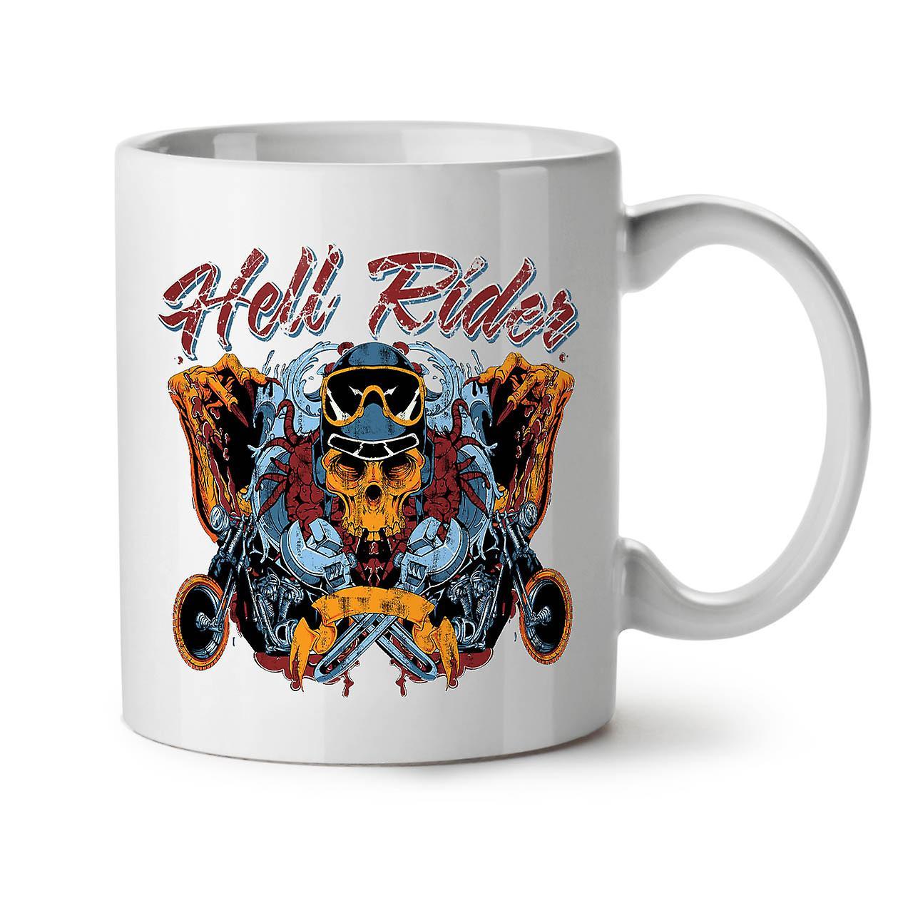 White 11 Hell Coffee Skull In New Mug Ceramic Riding Tea Biker OzWellcoda gY76bfy