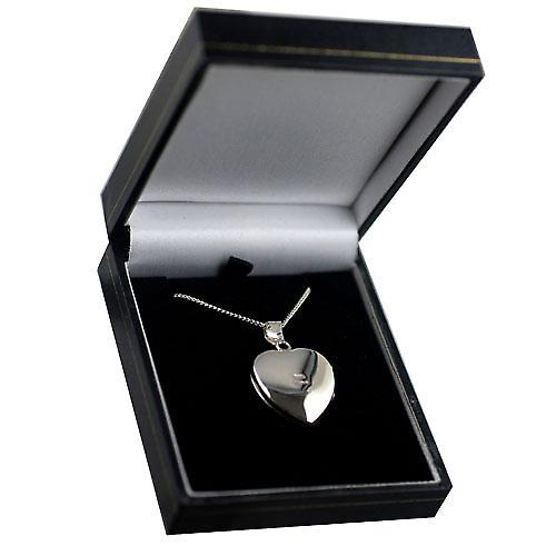Silver 24x20mm hand engraved heart shaped Locket with a curb Chain 18 inches