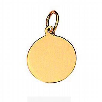18ct Gold 13mm round plain Disc