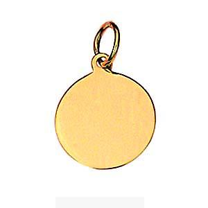 18ct Gold 13mm round plain Disc