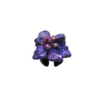 Anillo ajustable flor nácar y Perle violeta