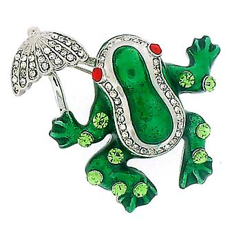 Brooches Store Green Enamel & Crystal Frog with Umbrella Brooch