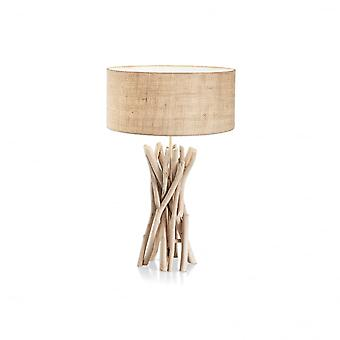 Ideal Lux Driftwood Natural Wooden Stick Table Lamp With Fabric Shade
