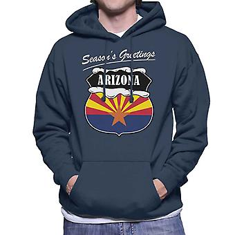 Seasons Greetings Arizona State Flag Christmas Men's Hooded Sweatshirt