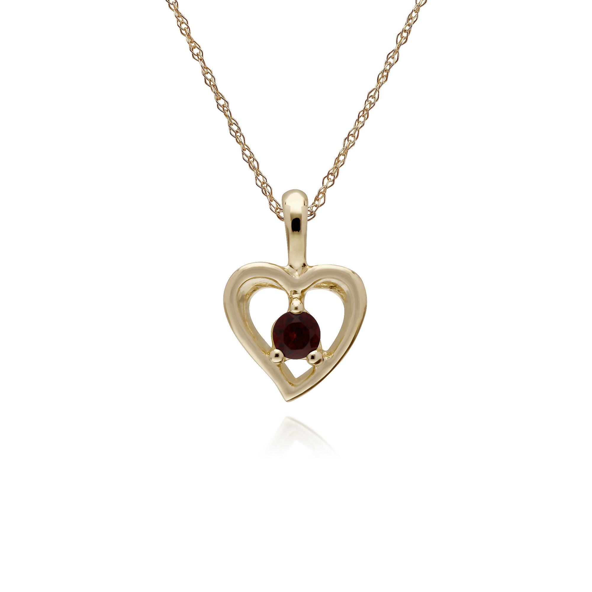 Gemondo 9ct jaune or grenat unique Pierre Heart pendentif sur chaîne de 45cm