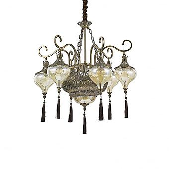 Ideal Lux Harem 9 Arabian Chandelier Of Bronze, Glass And Red Fabric