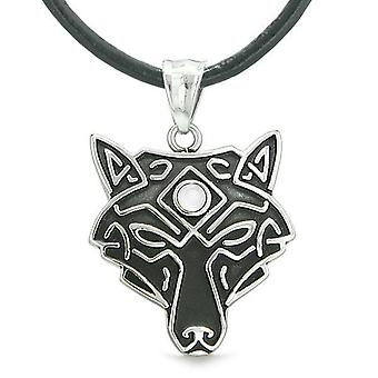 Celtic Wolf All-Seeing Third Eye Protection amulette chats simulé blanc oeil pendentif
