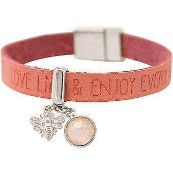 Gemshine Armband BEE Biene 925 Silber WISHES Pink Rosenquarz Rosa
