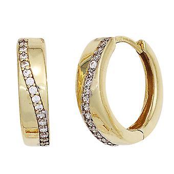 Hoepels van ongeveer 333 goud geel goud deel rhodium plated cubic Zirkonia oorbellen goud inklapmechanisme
