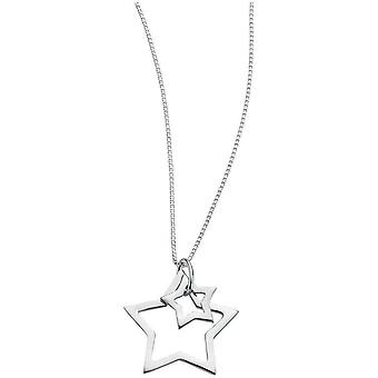 Beginnings Double Star Necklace - Silver