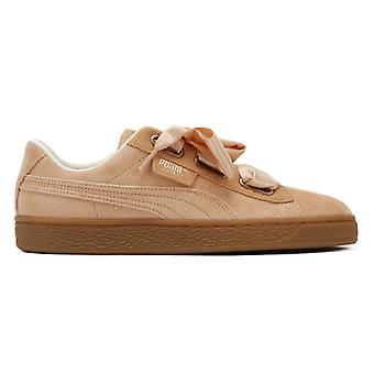 PUMA Womens Dusty Coral Corduroy Basket Heart Trainers