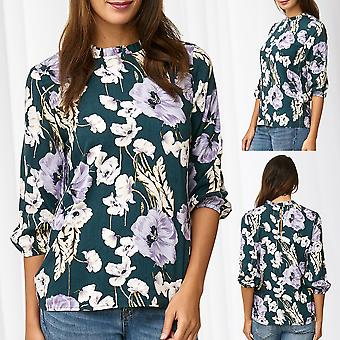 JDY Ladies Blouse Shirt Floral Flowers Top 3/4 Sleeve Top Frill Collar Only
