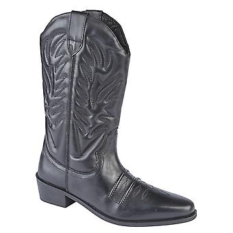 Mens Leather Pull On Western Cowboy High Leg Boots Shoes