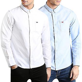 Brave Soul Mens Pompeii Plain Long Sleeve Casual Smart Button Shirt Top