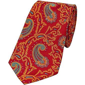 David Van Hagen grote Edwardian Paisley zijden stropdas - rood/oranje