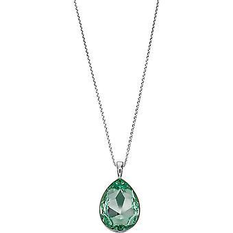Elements Silver Large Teardrop Pendant - Silver/Green