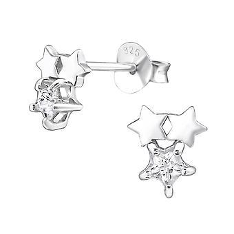 Starry - 925 Sterling Silver Cubic Zirconia Ear Studs - W30275X