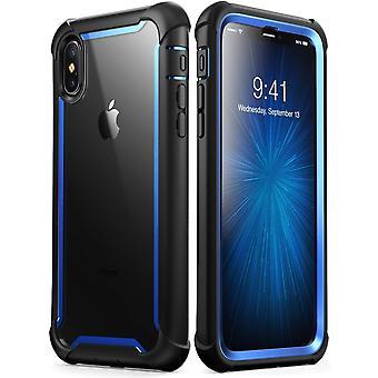 iPhone Xs Max Case, [Ares] caso de parachoques resistente claro de cuerpo completo con Protector de pantalla incorporado (2018 comunicado) (azul)
