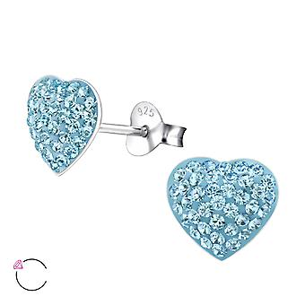Heart - 925 Sterling Silver Crystal Ear Studs - W24694X