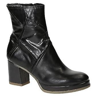 Black leather heeled ankle boots handmade in Italy