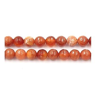 Strand 45+ Red Fire Agate 8mm Faceted Round Beads Y02265