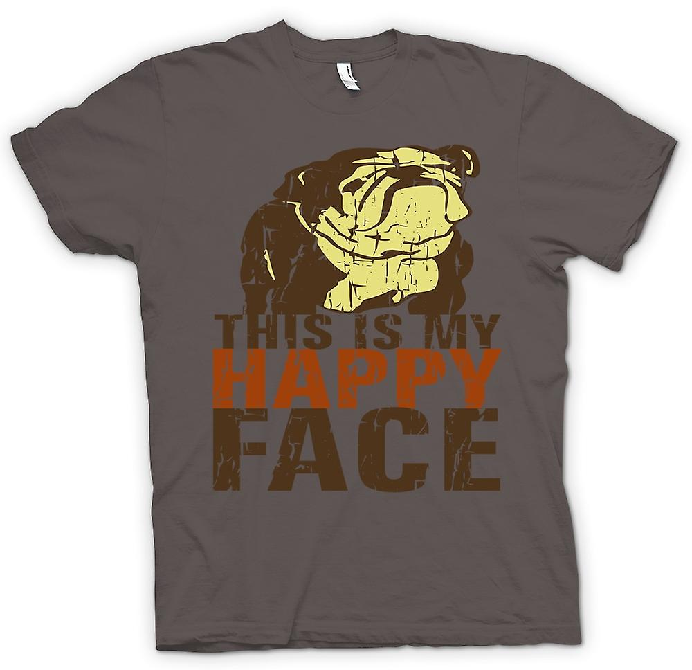 Mens T-shirt - Bulldog - This Is My Happy Face