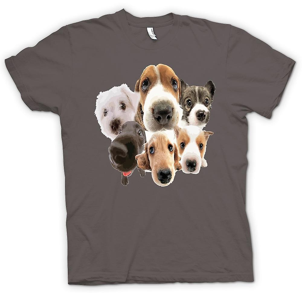 Womens T-shirt-hund ansikten Collage - söt