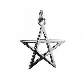 Silver 26mm plain Pentangle Pendant