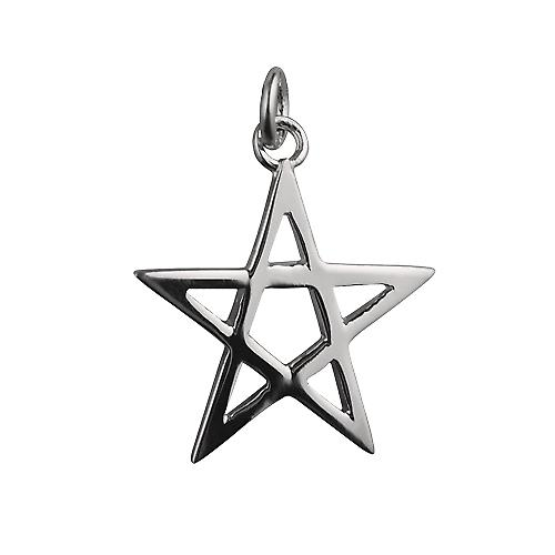 Silver 18x18mm Pentangle pendant