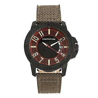 Morphic M70 Series Canvas-Overlaid Leather-Band Watch w/Date - Black/Olive