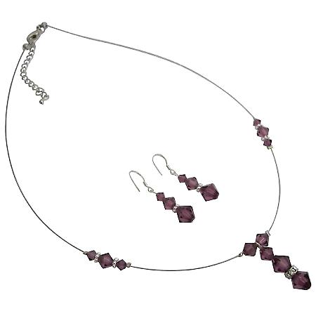 Prom Jewelry Amethyst Swarovski Crystals Necklace Earrings