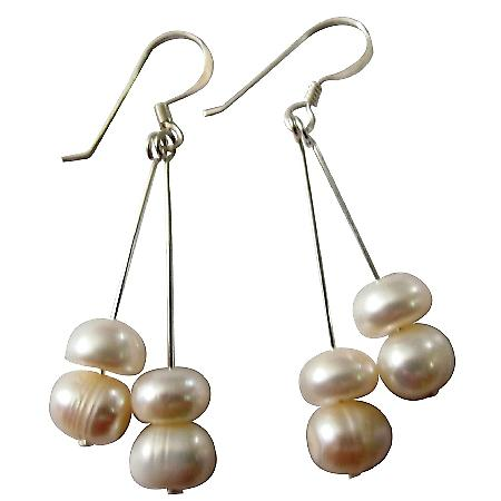 Adorable Earrings Freshwater Pearls Sterling Hook Earrings