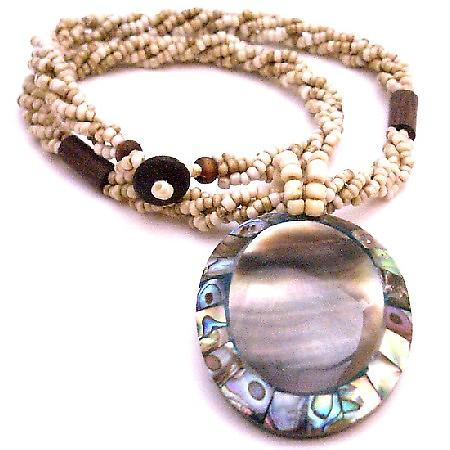 Confetti Oval Shell Pendant With Mother Of Pearl Embedded Focal Pendant Jewelry