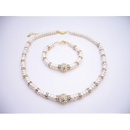 Choker & Bracelet FreshWater Pearls w/ Rondells Gold Plated Pendant