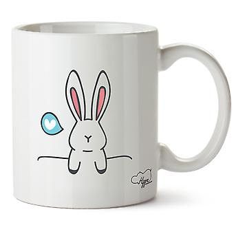 Hippowarehouse Bunny Rabbit liefde afgedrukt mok Cup keramiek 10oz