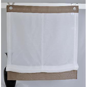 Kutti Raffrollo »ローマカフェ«付きフックアイレットホワイトブラウン H/B 140x100 cm