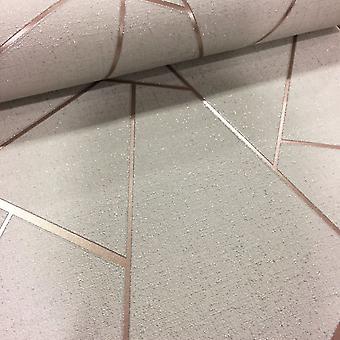 Retro Print Geometric Wallpaper Metallic Glitter Quartz Fine Décor